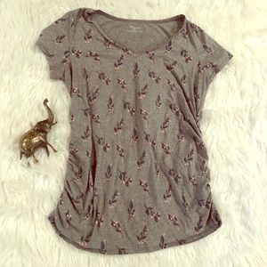 XL Motherhood Maternity Ruched Gray Floral Top